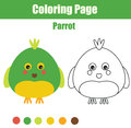 Coloring page with parrot. Educational children game, printable drawing kids activity