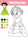 Coloring page with princess character. Color by numbers educational children game, drawing kids activity.
