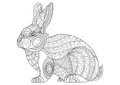 Coloring Page rabbit. Hand Drawn vintage doodle bunny vector Royalty Free Stock Photo