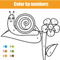 Coloring page with snail character. Color by numbers educational children game, drawing kids activity
