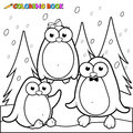 Coloring page snowy landscape with penguins on ice Royalty Free Stock Photo