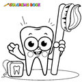 Coloring page tooth cartoon holding toothbrush and dental floss Royalty Free Stock Photo