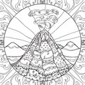 stock image of  Coloring page with volcano