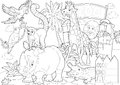 Coloring page - the zoo - illustration for the children Stock Image