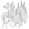 Coloring pages for adults and children book. Cartoon house in the forest.