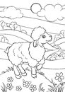 Coloring pages. Animals. Little cute sheep.