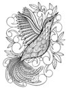 Coloring Pages. Coloring Book for adults. Beautiful template with artwork. School education.Bird hummingbird.