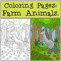 Coloring Pages: Farm Animals. Beautiful horse. Royalty Free Stock Photo