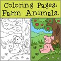 Coloring Pages: Farm Animals. Cute little pig sitting near a tree on the grass and smiling.