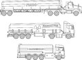 Coloring pages. Set of different kind cistern trucks carrying chemical, radioactive, toxic, hazardous substances flat