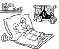 Coloring pages sleeping little bear Royalty Free Stock Photo