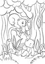 Coloring pages. Wild animals. Little cute baby bear.