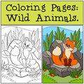 Coloring Pages: Wild animals. Little cute baby fox sits and looks at the fly.