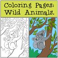 Coloring Pages: Wild Animals. Mother koala with her cute baby. Royalty Free Stock Photo