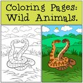 Coloring Pages: Wild Animals. Two cute vipers smile
