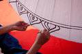 Coloring paints umbrella made ​​of paper fabric arts and how to make the process crafts of the village bo sang chiang mai Stock Photo