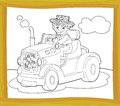 The coloring plate farm vehicle illustration for the children happy and colorful Royalty Free Stock Photos