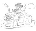 The coloring plate farm vehicle illustration for the children happy and colorful Royalty Free Stock Photo