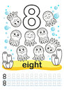 Coloring printable worksheet for kindergarten and preschool. We train to write numbers. Math exercises. Bright figures on a marine