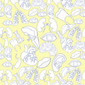 Coloring seamless pattern with human heart organ, lungs, brain,