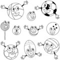 Coloring Sport Balls Characters Stock Photography