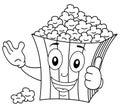 Coloring Striped Popcorn Bag Smiling