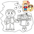Coloring with templates - Pair in love. Brown-haired