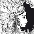 Coloring zentangle woman face on black
