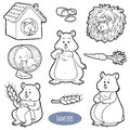 Colorless set of cute domestic animals and objects hamsters vector stickers with family Stock Photography