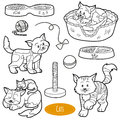 Colorless set of cute domestic animals and objects, vector cats