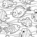 Colorless vector pattern with fish black and white Royalty Free Stock Images