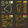 Colors of Algeria, Benin, Guinea-Bissau and Burkina Faso Royalty Free Stock Photo