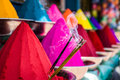 Colors bowls of vibrant colored dyes in india holi Stock Photography