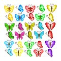 Colors butterflies isolated on white background. Pretty vector b