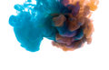 Colors dropped into liquid and photographed while in motion. Ink