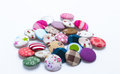 Colors of fabric buttons crafts sewing Stock Photography