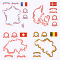 Colors of France, Denmark, Switzerland and Belgium Royalty Free Stock Photo