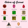 Colors of Garnet in different cuts Royalty Free Stock Photo