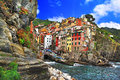 Colors of italy riomaggiore pictorial fishing village liguria Royalty Free Stock Image