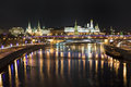 Colors of the Moscow nights. Kremlin and Bolshoy K Royalty Free Stock Photo