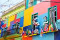 Colors and statues colorful building in la boca neighborhood of beunos aires argentina Royalty Free Stock Image
