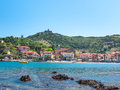 Colors of sunny collioure summer scenery mediterranean holiday destination village Royalty Free Stock Image