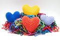Colors woolen hearts Stock Photos