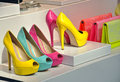 Colorul high heels shoe store colorful spring shoes for girls with Stock Photo