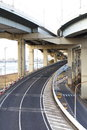 A colossal concrete motorway flyover access and egress Royalty Free Stock Image