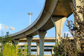 A colossal concrete motorway flyover access and egress road curve of viaduct in shanghai china outdoor Royalty Free Stock Photography