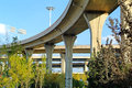 A colossal concrete motorway flyover access and egress road curve of viaduct in shanghai china outdoor Stock Photos