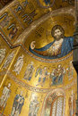 Colossal half-length figure of Christ in the Monreale cathedral Stock Images