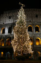 Colosseo with christmas tree at night. Rome, Italy Stock Photography