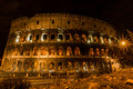 Colosseo lights in rome fori imperiali acients Stock Photo